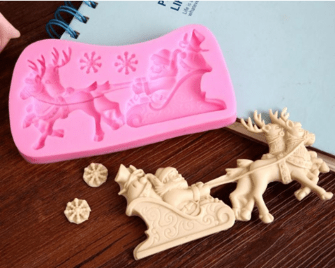 """Santa Claus with Sleigh and Elk silicone fondant/chocolate mold"
