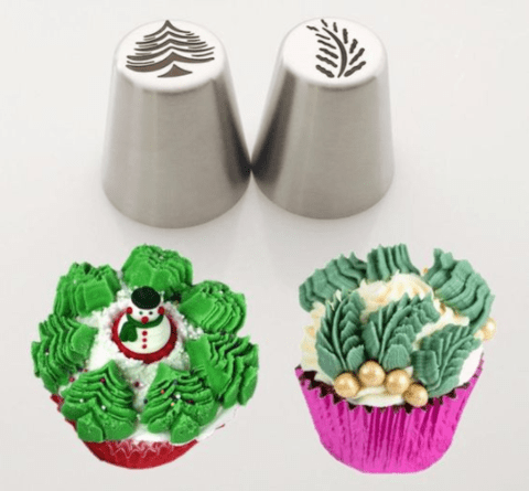 2PC Set Stainless Steel Christmas leave Nozzle for Piping Buttercream/cream.