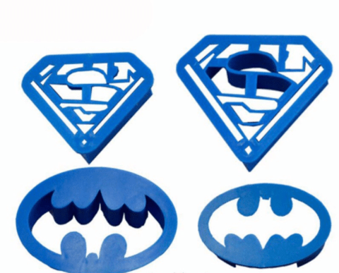 1 Set Spring Press Batman, Superman Icing Topper silicone fondant/chocolate mold