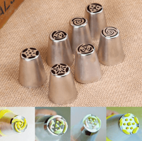 7 Piece Stainless steel nozzle tips for piping Rose/Tulip cake decorations.