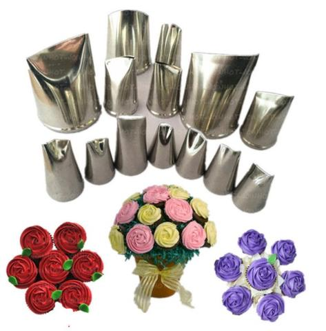 14 pcs Rose flowers piping nozzle tips set for Cake decorating.