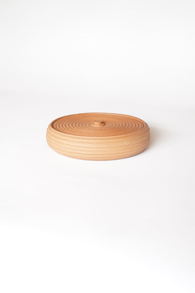 STRIPED TERRACOTTA LIDDED VESSEL #1