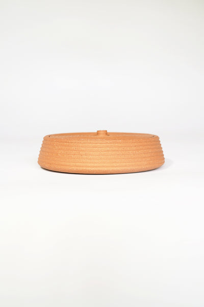 STRIPED TERRACOTTA LIDDED VESSEL #3