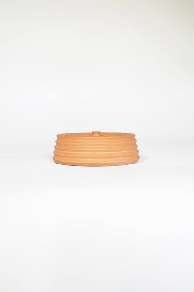 STRIPED TERRACOTTA LIDDED VESSEL #4