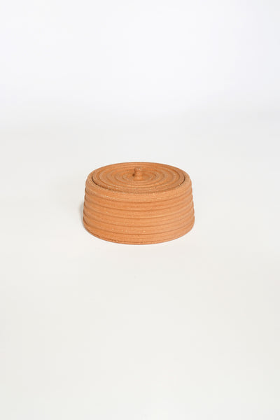 STRIPED TERRACOTTA LIDDED VESSEL #5