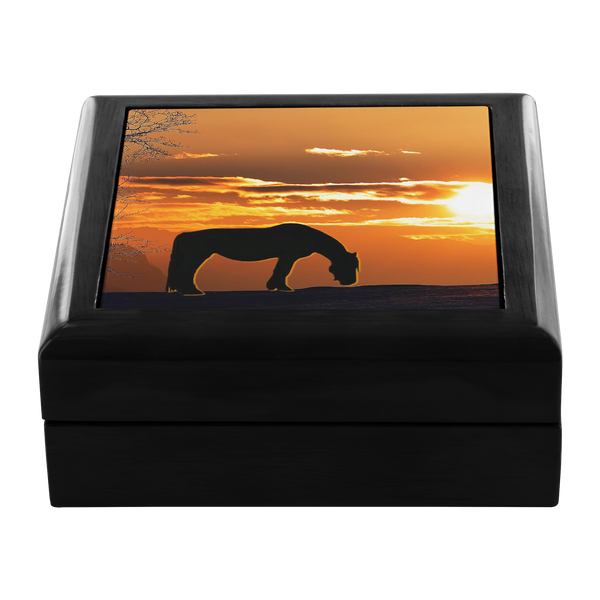 Ceramic Tile inlay - My Sunset Wood Jewelry Box in Ebony Black