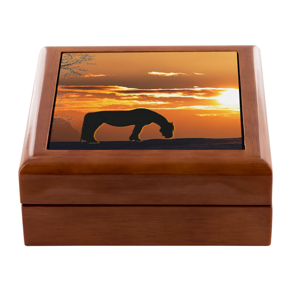 Ceramic Tile inlay - My Sunset Wood Jewelry Box in Golden Oak