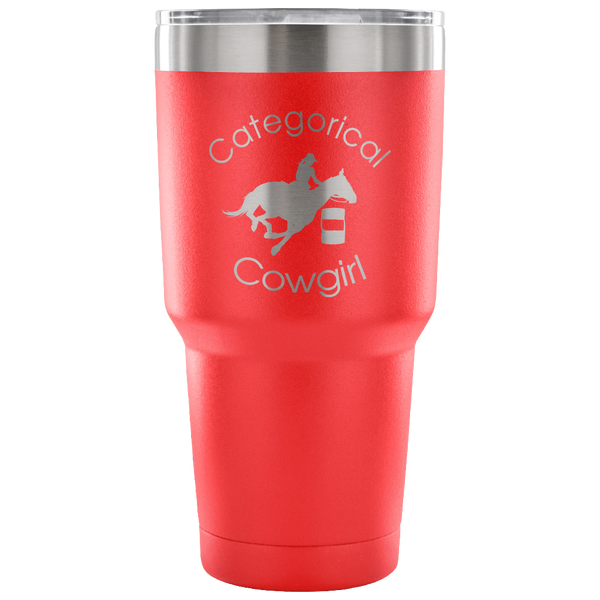 """Categorical Cowgirl"" Stainless Vacuum Tumbler in Red"