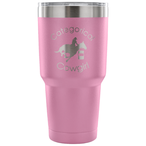 """Categorical Cowgirl"" Stainless Vacuum Tumbler in light pink"