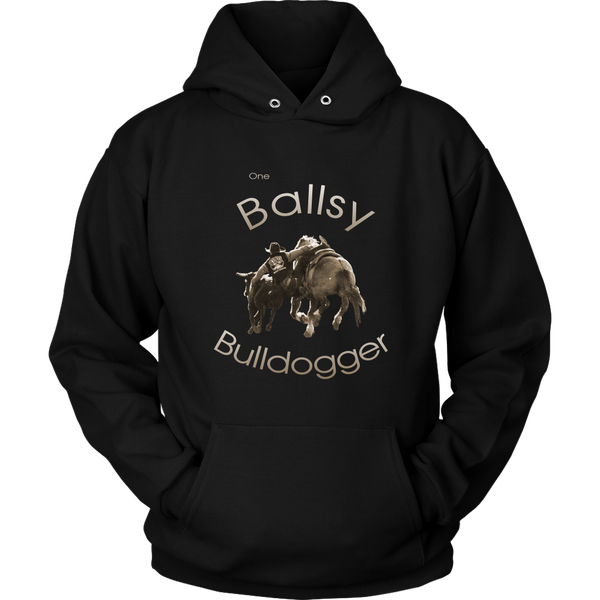 """One Ballsy Bulldogger"" Hoodie for Real Cowboys - Black"