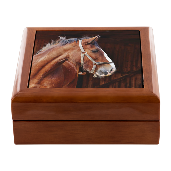 My Favorite Clydesdale Ceramic Tile Wooden Jewelry Box - Golden Oak