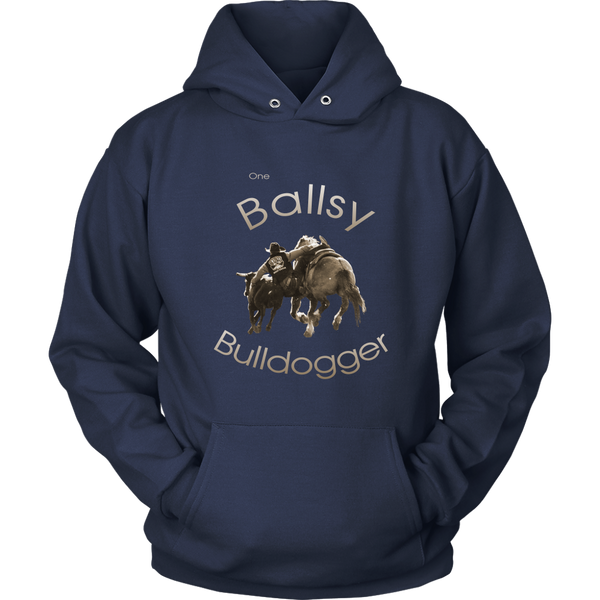 """One Ballsy Bulldogger"" Hoodie for Real Cowboys - Navy"