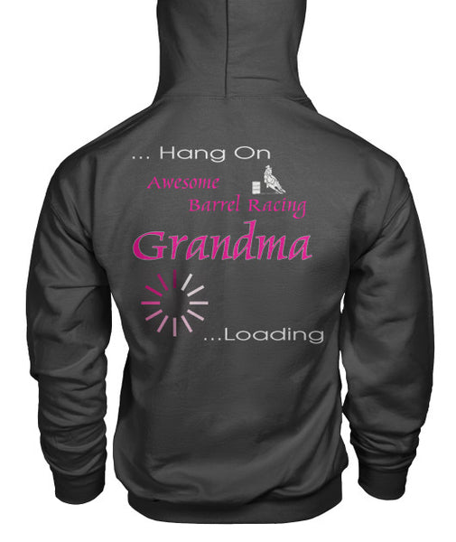 Back Side Charcoal Barrel Racing Grandma Loading Pouch Pocket Hoodie