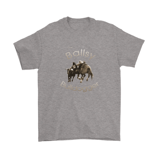 """One Ballsy Bulldogger"" T-Shirts for A Real Rodeo Man - Sport Grey"