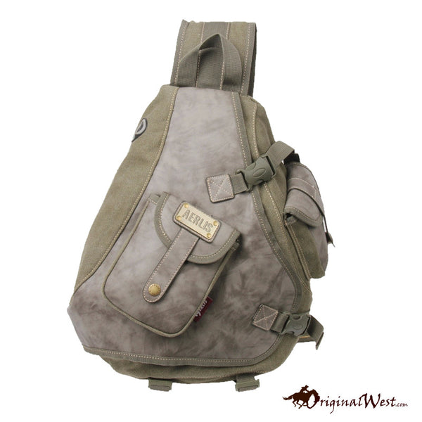 Casual Canvas Leather Shoulder Cross Body Bag - Army Green