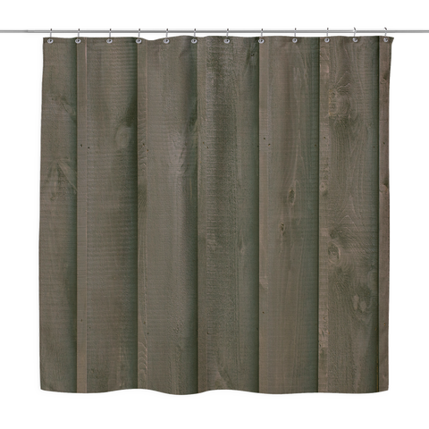 Rustic Barn Boards - Shower Curtains Dark Brown