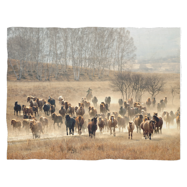 Large  Herd Wild Horses - Fleece Blankets Sofa Throw