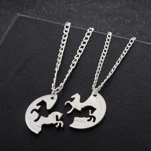 Friendship Necklace 2 Piece Prancing & Rearing Horses