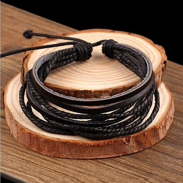 Genuine Leather Bracelet Woven Multilayer Hand-Woven