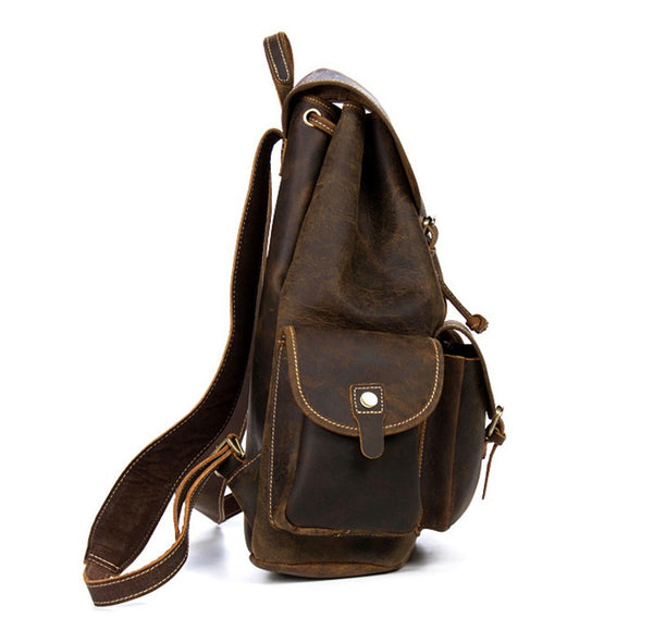 Genuine Leather Rugged Rucksack Side View