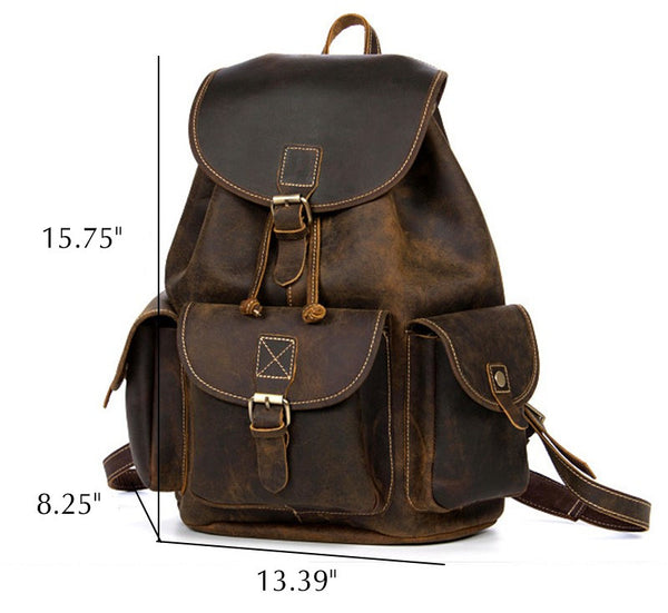 Genuine Leather Rugged Rucksack Dimensions