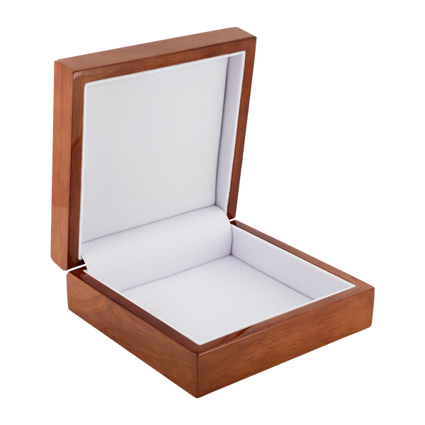 Felt Lined Scarlett Poppy Wood Jewelry Box - Oak