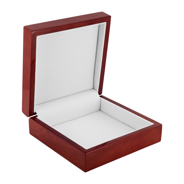 Felt Lined Scarlett Poppy Ceramic insert Wood Jewelry Box - Red Mahogany