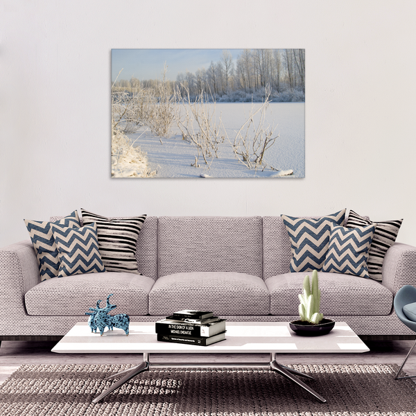 Frosted Lake Canvas Art Print hanging on wall