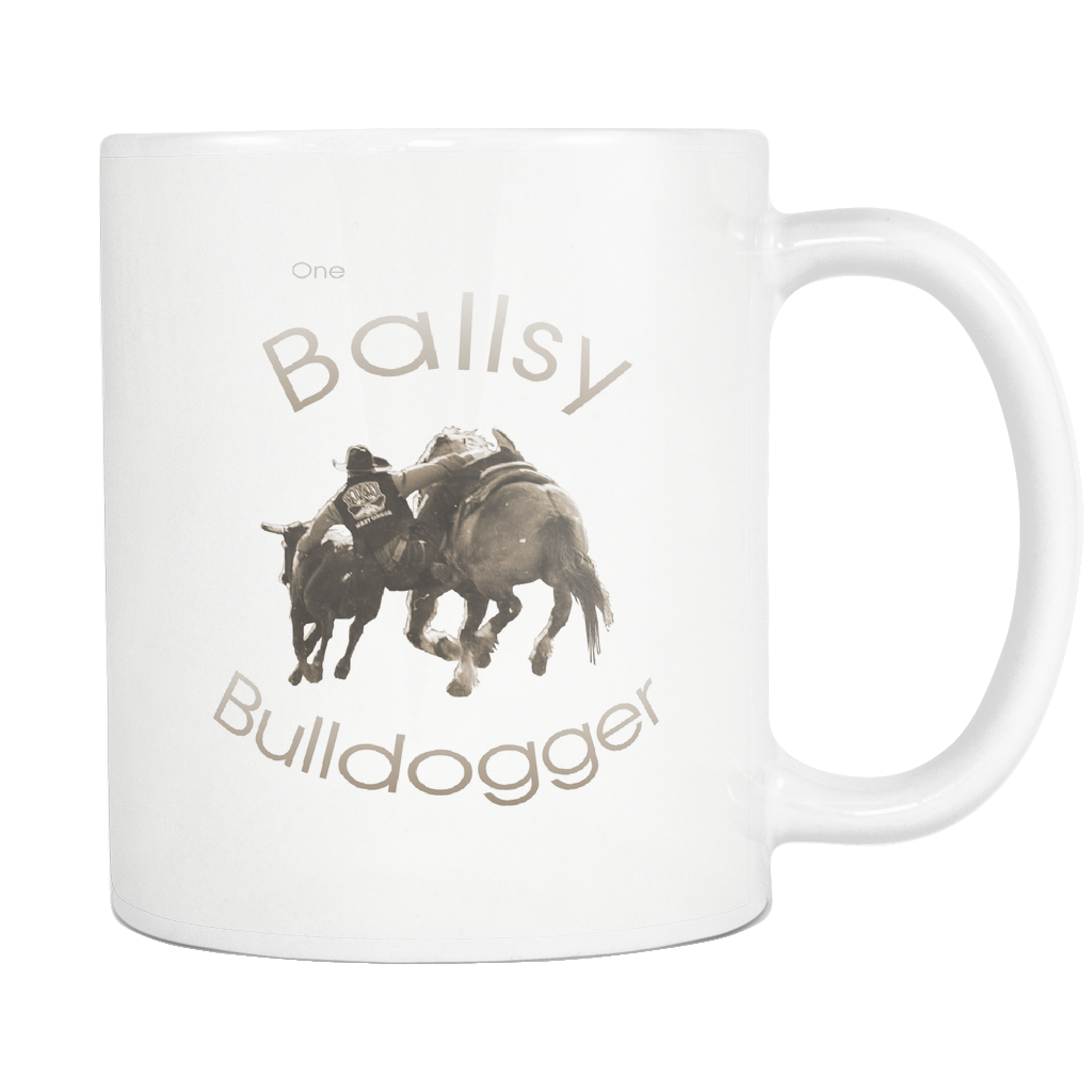 One Ballsy Bulldogger White Coffee Mug