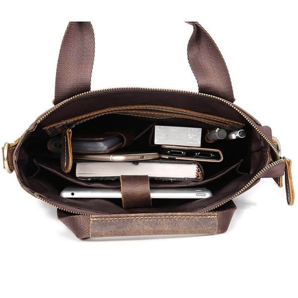 Multiple Pocket Vintage Genuine Leather Men's Satchel, Shoulder Bag