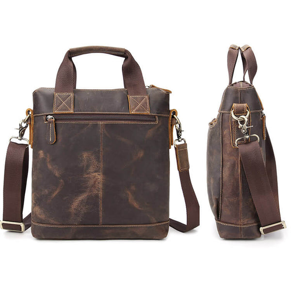 Side View Vintage Genuine Leather Men's Satchel, Shoulder Bag