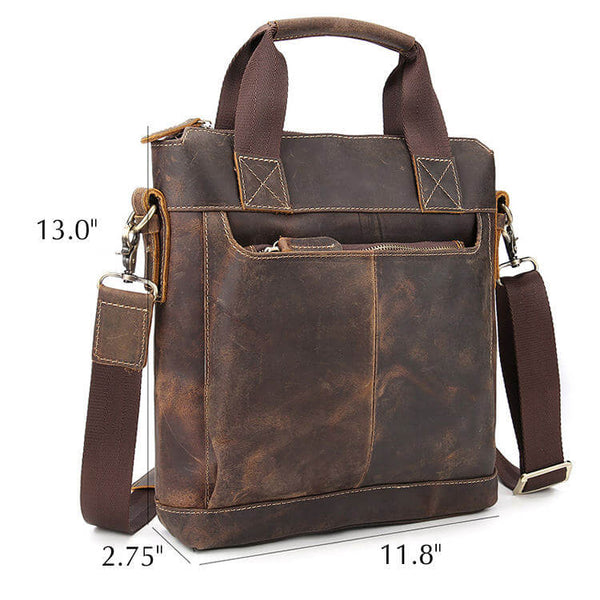 Dimensions Vintage Genuine Leather Men's Satchel, Shoulder Bag