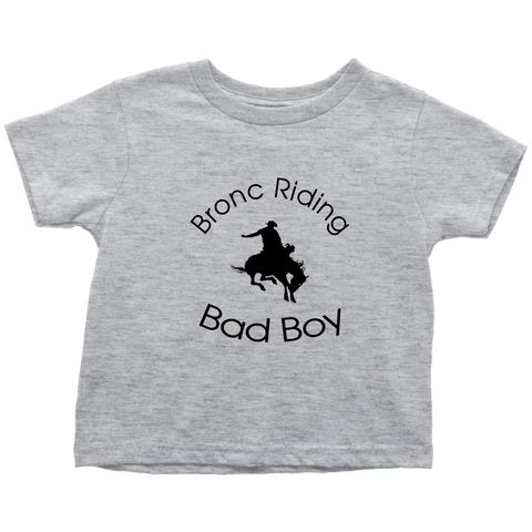 Bronc Riding Bad Boy Toddler T-Shirt - Heather Gray
