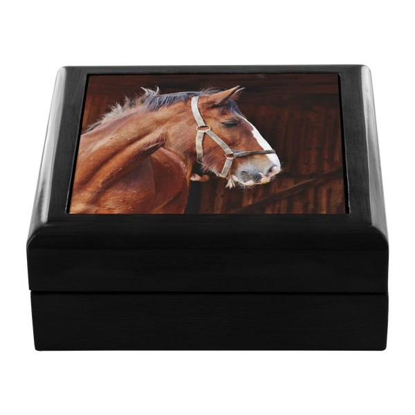 My Favorite Clydesdale Ceramic Tile Wooden Jewelry Box - Ebony Black