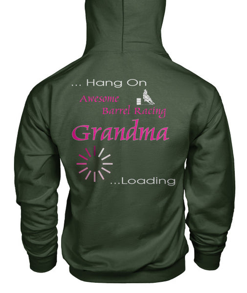 Back View Military Green Barrel Racing Grandma Loading Pouch Pocket Hoodie