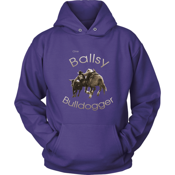 """One Ballsy Bulldogger"" Hoodie for Real Cowboys - Purple"