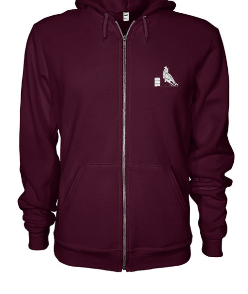 Maroon Zip-Up Hoodie for Rodeo Granny