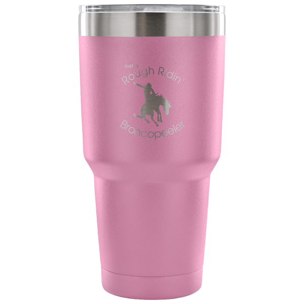 "Just a ""Rough Ridin' Broncopeeler"" Vacuum Tumbler - in light purple"