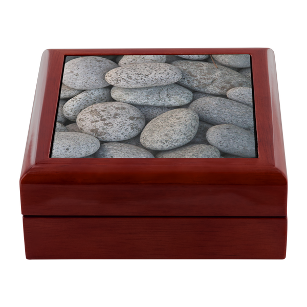 River Stones Ceramic Tile Wood Jewelry Box