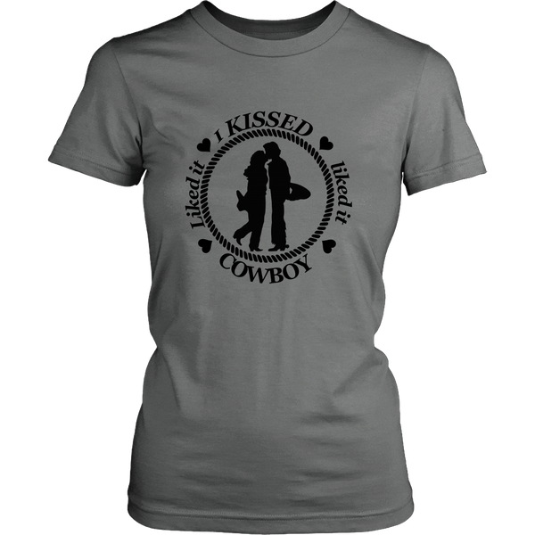 Kissed A Cowboy Ladies District T-Shirt - Grey