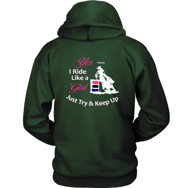 I Know I Ride Like a Girl - Hoodie for Cowgirls in Dark Green Back