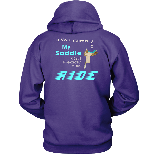 Back Side Purple  - Climb Into My Saddle - Hoodie for Women