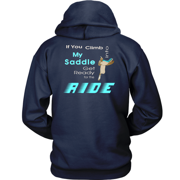 Back view Navy  - Climb Into My Saddle - Hoodie for Women