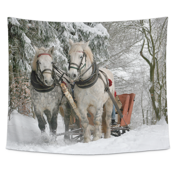 Percheron's in Snow with Wagon - Tapestry