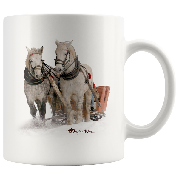 """Winter Sleigh Ride"" White Coffee Mug. Perfect Coffee Mug for Grand dad and lovers of heavy horses."