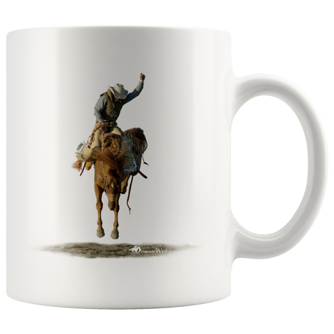 Wild Ride-A-Buck White Coffee Mug - Best Rodeo Mugs