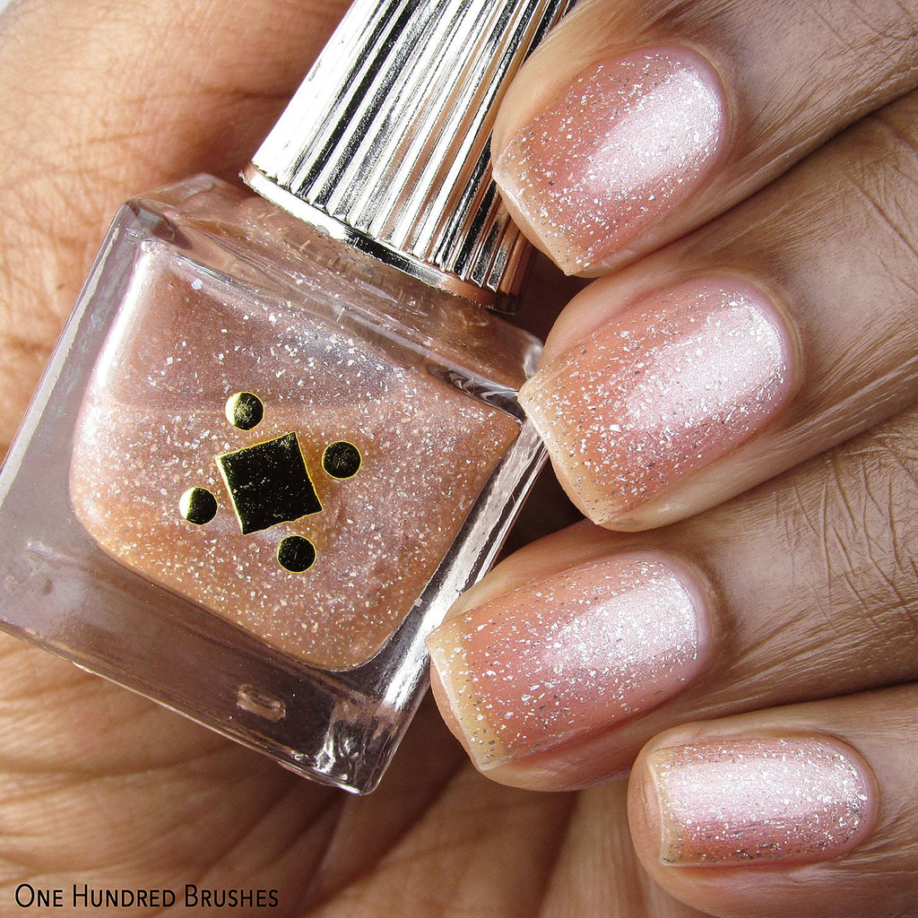 Lashes & Diamonds Swatch Sparkly Champagne Polish