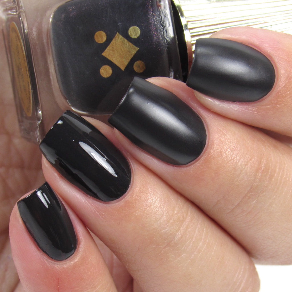 Deco Miami Nail Lacquer Black Like My Soul Light Swatch