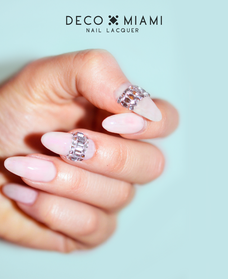 milky pink crème nail lacquer by Deco Miami gem nail art