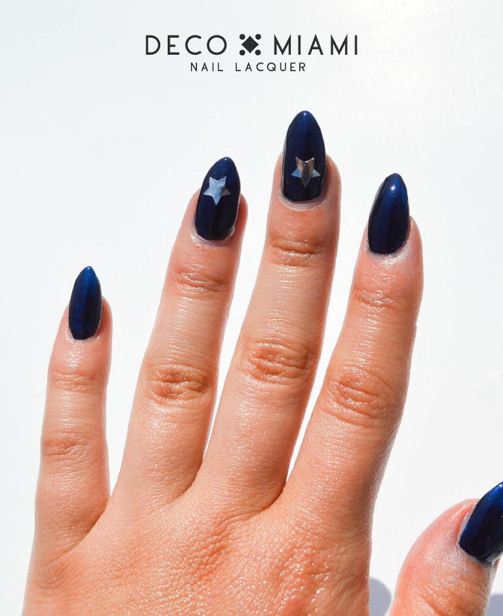 BRICKELL BLUE - navy blue - metallic nail lacquer by Deco Miami swatch